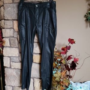 WHBM NWT.  Black coated, leather like Jean's. Sz 8